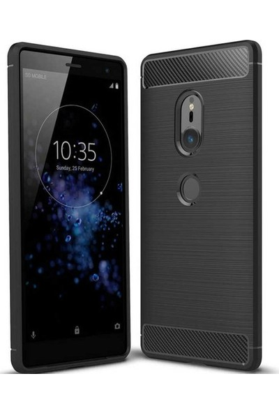 Casestore Sony Xperia XZ2 Carbon Brushed Soft TPU Silikon Kılıf Siyah + Nano Ekran Koruyucu