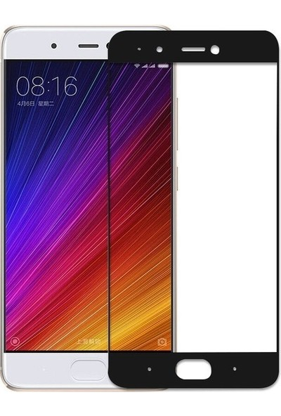 Casestore Xiaomi Mi 5 Ultra Lüx Tam Kaplayan 3D Ekran Koruyucu Cam Siyah + Şeffaf Silikon Kılıf