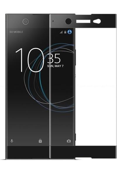 Casestore Sony Xperia XA1 Ultra Ultra Lüx Tam Kaplayan 3D Ekran Koruyucu Cam Siyah + Şeffaf Silikon Kılıf