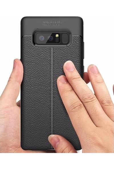 Casestore Samsung Galaxy S8 Ultra Lüx Tam Kaplayan 3D Ekran Koruyucu Cam Siyah + Deri Silikon Kılıf