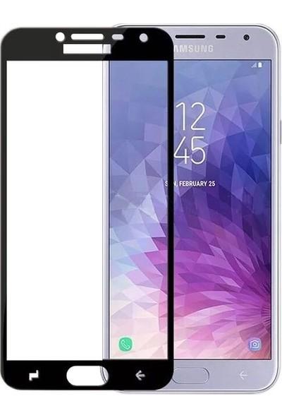 Casestore Samsung Galaxy J4 2018 Ultra Lüx Tam Kaplayan 3D Ekran Koruyucu Cam Siyah + Deri Silikon Kılıf