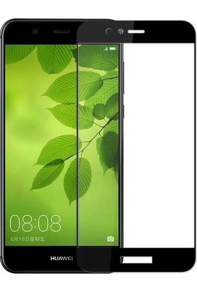 Casestore Huawei Y7 2018 Ultra Lüx Tam Kaplayan 3D Ekran Koruyucu Cam Siyah + Deri Silikon Kılıf