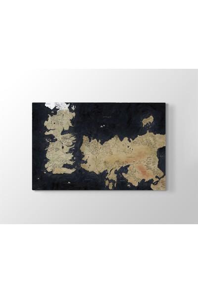 Meteor Galeri Dünya Haritası Dekoratif Kanvas Tablosu