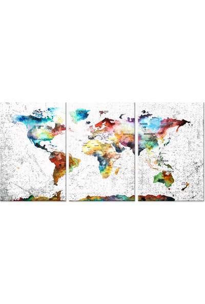 Meteor Galeri Renkli Dünya Haritası 3 Parça Kanvas Tablo