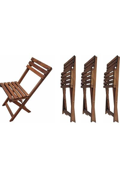 Özdağ Bistro Ahşap 4'Lü Bahçe Balkon Sandalye Seti (4 Adet Sandalye)