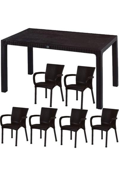Comfort Rattan Set 90X150 1 Adet Masa 6 Adet Sandalye Camsız