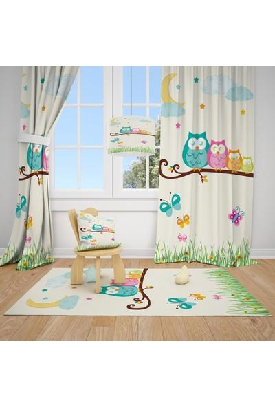 Cici Halı Baykuş Ailesi Çocuk Bebek Odası Fon Perde 1 Kanat