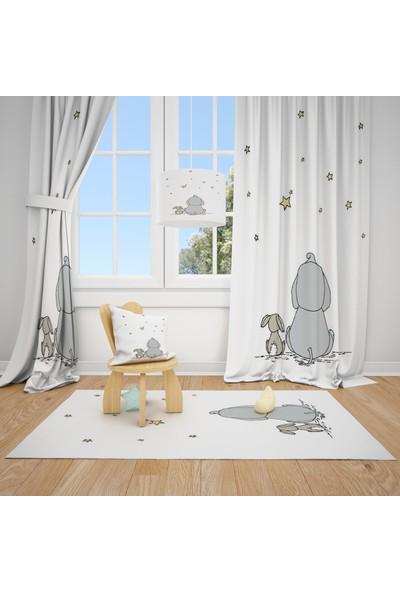 Cici Halı Beyaz Zemin Fil Tavşan ve Yıldızlar Çocuk Bebek Odası Fon Perde 2 Kanat