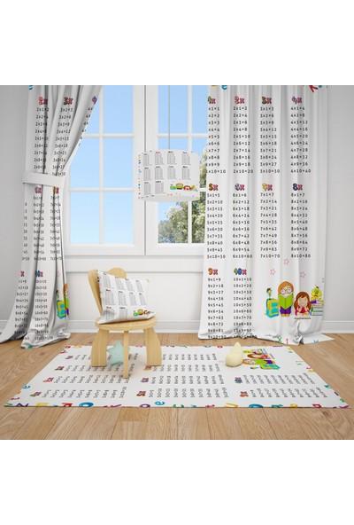 Cici Halı Çarpım Tablosu Çocuk Bebek Odası Fon Perde 1 Kanat
