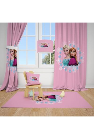 Cici Halı Çizgi Prensesler Çocuk Bebek Odası Fon Perde 2 Kanat