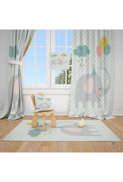 Cici Halı Çizgili Zemin Fil Bulut ve Balonlar Çocuk Bebek Odası Fon Perde 1 Kanat