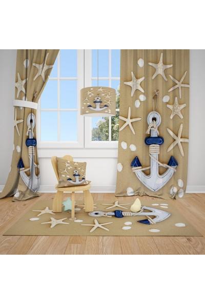 Cici Halı Deniz Yıldızları ve Çapa Çocuk Bebek Odası Fon Perde 1 Kanat 70 x 200 cm