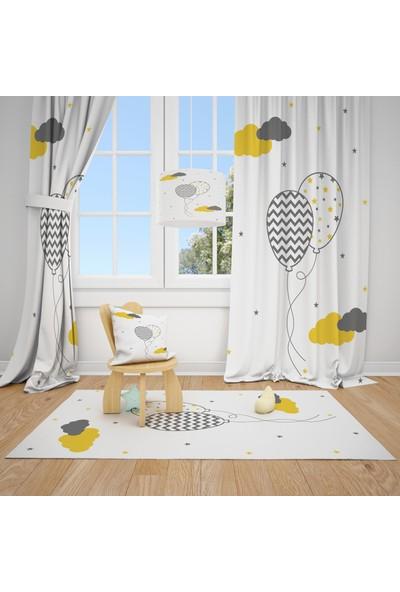 Cici Halı Desenli Balonlar ve Renkli Bulutlar Çocuk Bebek Odası Fon Perde 1 Kanat