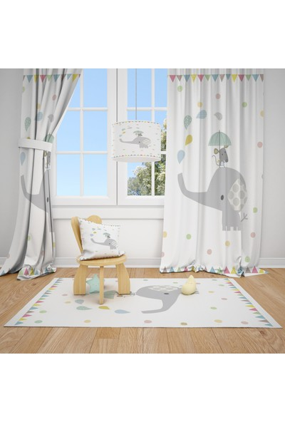 Cici Halı Fil ve Fare Çocuk Bebek Odası Fon Perde 1 Kanat