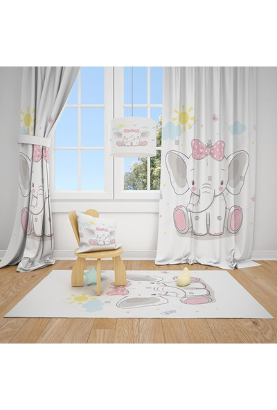 Cici Halı Fil ve Güneş Çocuk Bebek Odası Fon Perde 1 Kanat