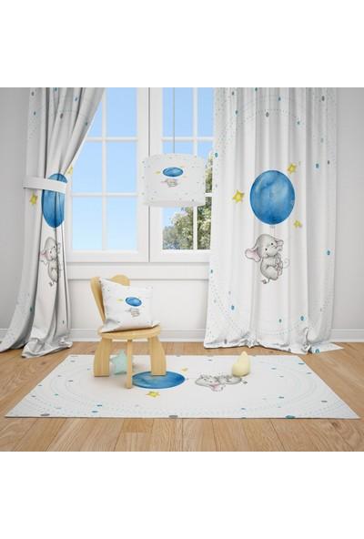 Cici Halı Fil ve Mavi Balon Çocuk Bebek Odası Fon Perde 1 Kanat 70X200