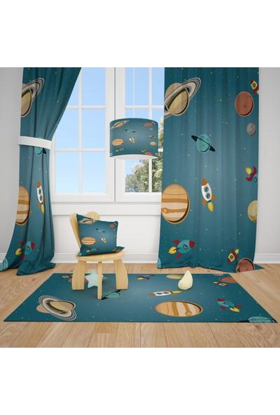 Cici Halı Gezegenler ve Uzay Roketleri Çocuk Bebek Odası Fon Perde 2 Kanat 70X200