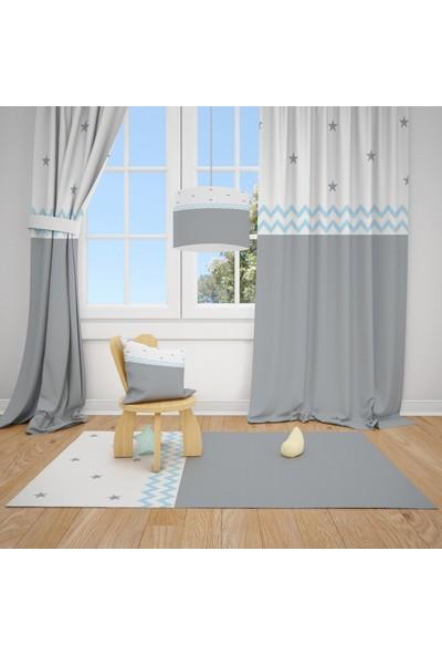 Cici Halı Gri Beyaz Zemin Zigzag ve Yıldızlar Çocuk Bebek Odası Fon Perde 2 Kanat 70x200