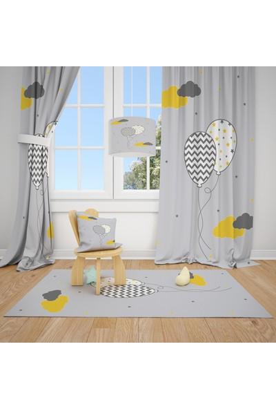Cici Halı Gri Zemin Desenli Balon ve Bulutlar Çocuk Bebek Odası Fon Perde 1 Kanat