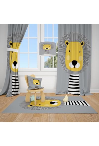 Cici Halı Gri Zemin Sevimli Aslan Çocuk Bebek Odası Fon Perde 1 Kanat 70x200