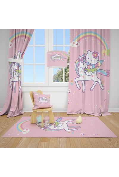 Cici Halı Hello Kitty Atlı Pembe Çocuk Bebek Odası Fon Perde 2 Kanat