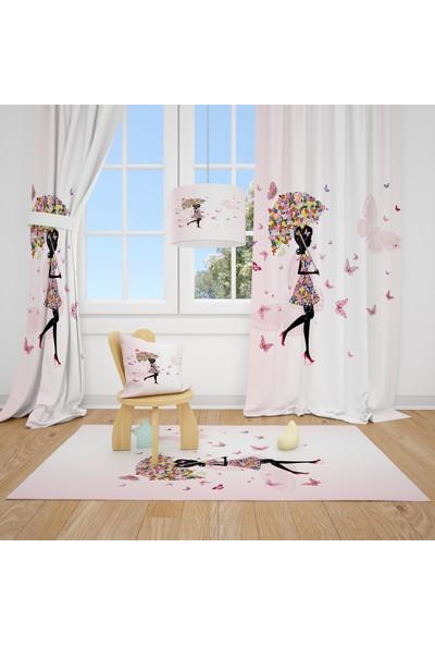 Cici Halı Pastel Şemsiye Kelebekli Çocuk Bebek Odası Fon Perde 2 Kanat