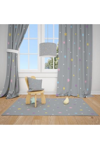 Cici Halı Rengarenk Yıldızlar ve Gri Zemin Çocuk Bebek Odası Fon Perde 2 Kanat