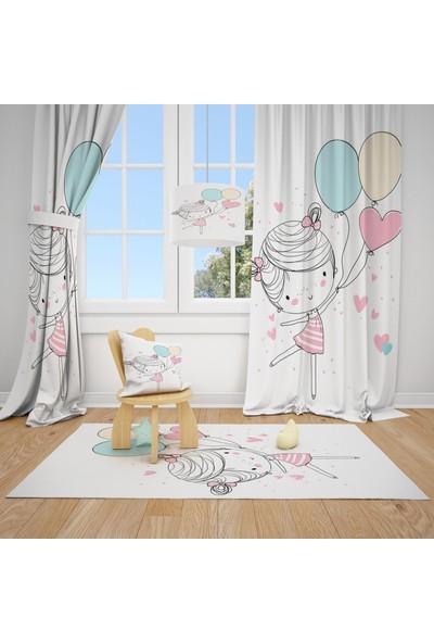 Cici Halı Renkli Balonlar ve Balerin Kız Çocuk Bebek Odası Fon Perde 2 Kanat