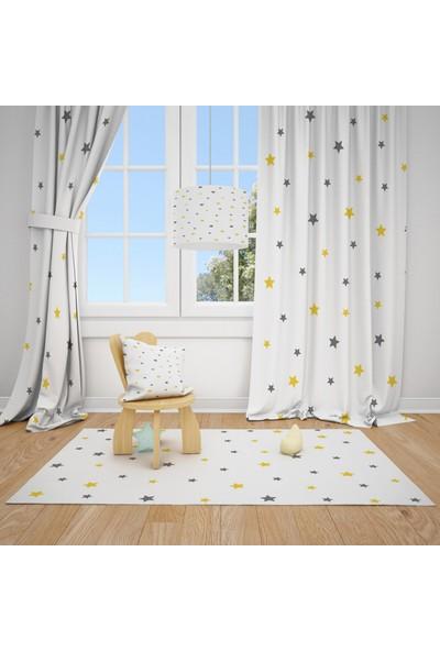 Cici Halı Sarı Gri Yıldızlar Çocuk Bebek Odası Fon Perde 2 Kanat
