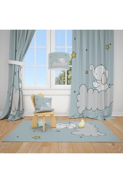 Cici Halı Sarı Yıldızlar, Bulut ve Sevimli Fil Çocuk Bebek Odası Fon Perde 1 Kanat 70x200