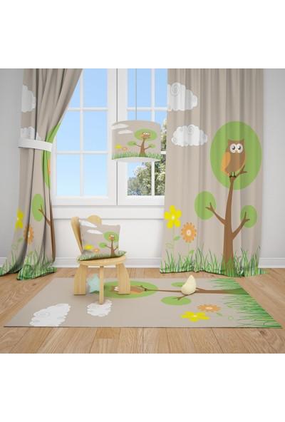 Cici Halı Sevimli Baykuş ve Ağaç Çiçek ve Bulutlar Çocuk Bebek Odası Fon Perde 1 Kanat