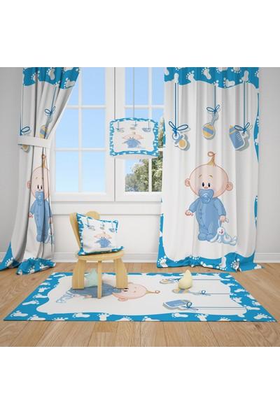 Cici Halı Sevimli Bebek Ayak İzi Mavi Çocuk Bebek Odası Fon Perde 1 Kanat