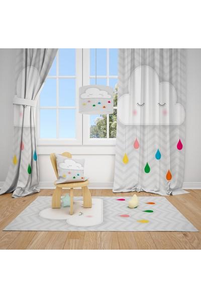 Cici Halı Sevimli Bulut ve Renkli Damlalar Çocuk Bebek Odası Fon Perde 1 Kanat