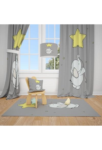 Cici Halı Sevimli Fil ve Sarı Yıldız Balon Çocuk Bebek Odası Fon Perde 1 Kanat