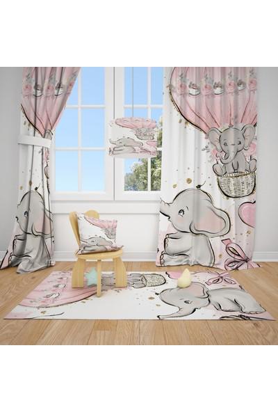Cici Halı Sevimli Filler ve Balonlar Çocuk Bebek Odası Fon Perde 1 Kanat 70x200