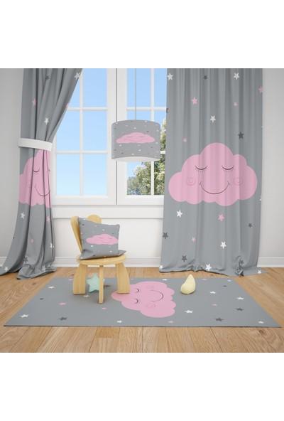 Cici Halı Sevimli Pembe Bulut Çocuk Bebek Odası Fon Perde 1 Kanat