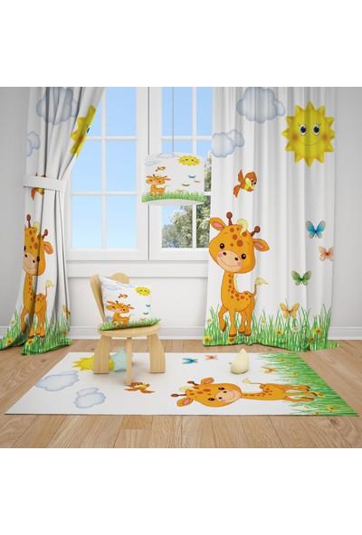 Cici Halı Sevimli Zürafa Yeşil Çimen Çocuk Bebek Odası Fon Perde 2 Kanat
