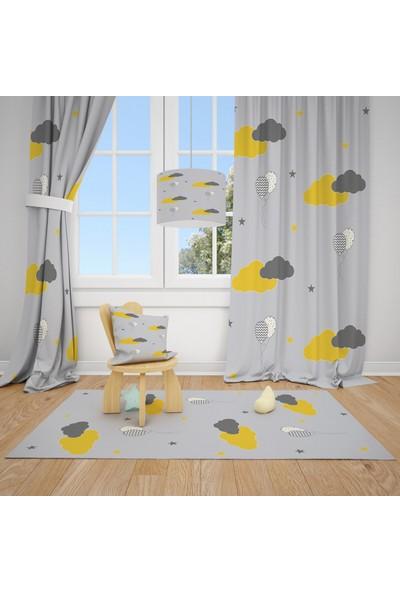 Cici Halı Uçan Balonlar ve Renkli Bulutlar Çocuk Bebek Odası Fon Perde 2 Kanat