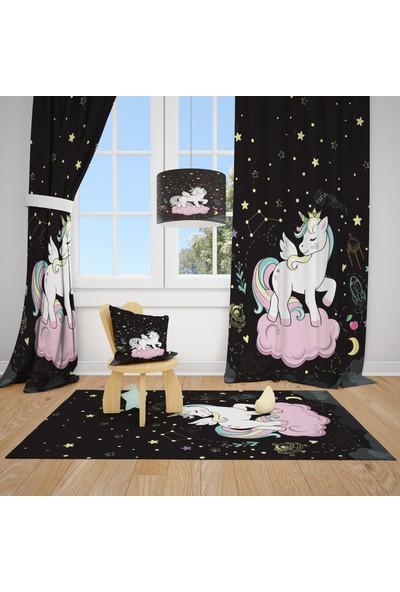 Cici Halı Unicon Kanatlı Beyaz Pony At Çocuk Bebek Odası Fon Perde 2 Kanat