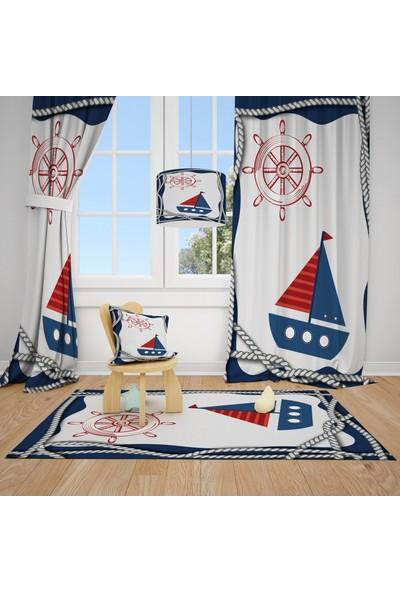 Cici Halı Yelkenli ve Deniz Temalı Çocuk Bebek Odası Fon Perde 2 Kanat