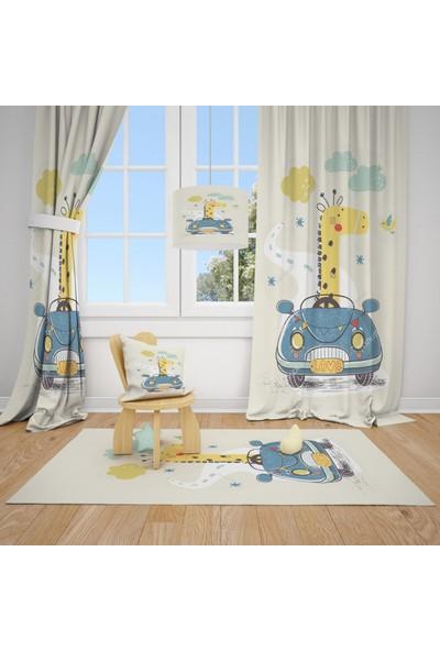 Cici Halı Zürafa ve Spor Araba Çocuk Bebek Odası Fon Perde 2 Kanat 70x200