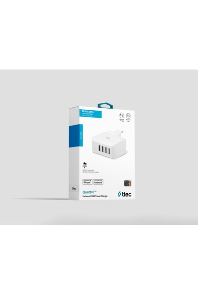 Ttec Quattro 4 USBli Seyahat Şarj Aleti - Beyaz
