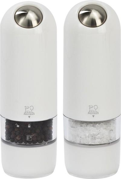 Peugeot Alaska Karabiber Ve Tuz Değirmen Seti Pilli Beyaz 16 Cm