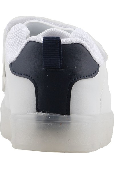 Ayakland Cool 19-S28 Günlük Işıklı Erkek/Kız Çocuk Spor Ayakkabı Beyaz-Lacivert