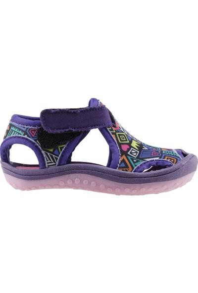 Ayakland Kids Desenli Aqua Kız Çocuk Sandalet Deniz Ayakkabı Mor
