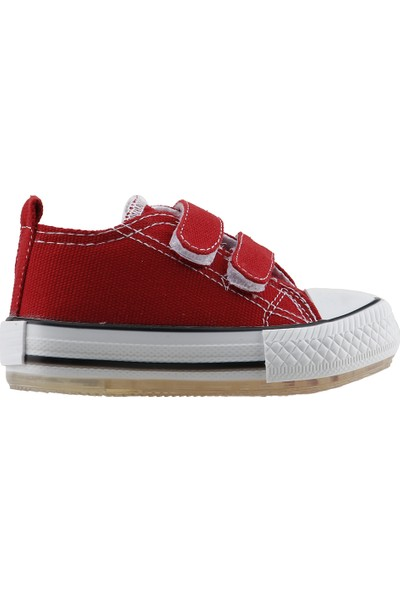 Pandora Kids 201.C.200 Cırtlı Keten Işıklı Kız Çocuk Ayakkabı Kırmızı