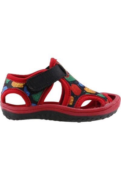 Ayakland Kids Lego Desenli Aqua Erkek Çocuk Sandalet Deniz Ayakkabı Siyah Kırmızı
