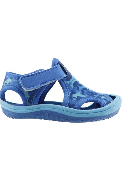 Ayakland Kids Kamuflajlı Aqua Erkek Çocuk Sandalet Deniz Ayakkabı Mavi