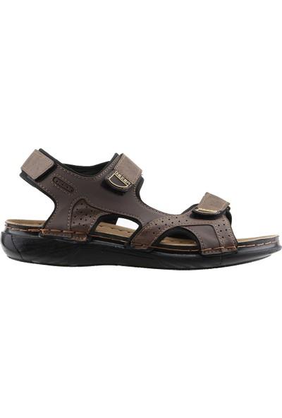 Gezer 10682 Günlük Anatomik Dikişli Erkek Sandalet Terlik Kahverengi