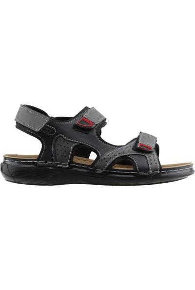 Gezer 10682 Günlük Anatomik Dikişli Erkek Sandalet Terlik Siyah